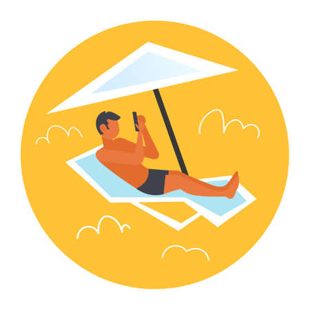 man sunbathing guy in swimwear using smartphone lying on sun lounger under umbrella summer vacation concept male character full length flat vector illustration