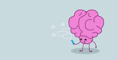 cute human brain organ using smartphone mobile app chat bubble online communication social median network concept kawaii style pink cartoon character sketch horizontal vector illustration
