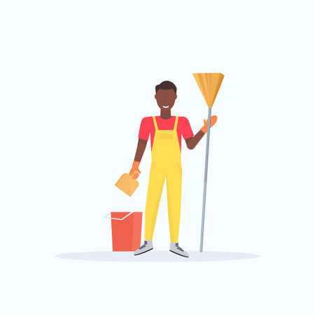 man holding broom african american guy cleaner sweeping floor cleaning service housekeeping concept full length flat white background vector illustration Stock Illustratie