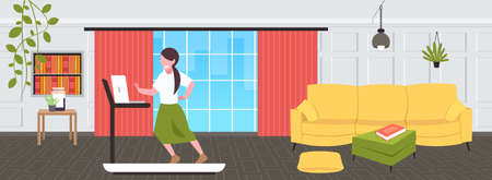 businesswoman using laptop running on treadmill woman freelancer workout hard working concept modern living room interior flat full length horizontal vector illustration Stock Illustratie