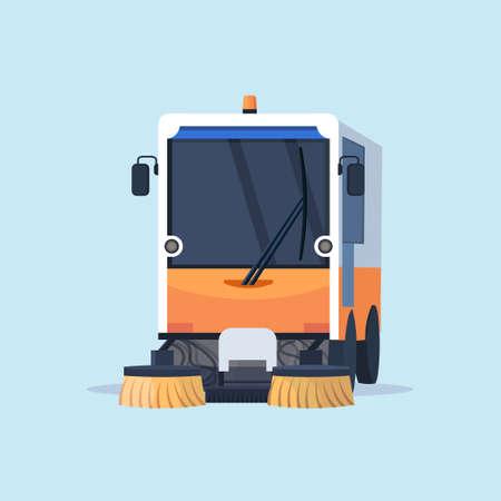modern street sweeper truck industrial vehicle cleaning machine urban road service concept flat vector illustration Vektorgrafik