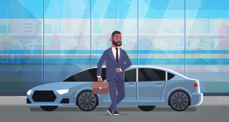 businessman standing near luxury car african american man in suit holding suitcase going to work business concept flat full length horizontal vector illustration Illustration