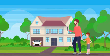 man using cellphone while walking outdoor with little child son want attention from father smartphone addiction concept cottage house landscape background flat full length horizontal vector illustration Ilustração