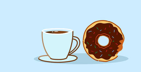 chocolate donut with coffee cup sweet freshly baked cookie dessert lunch break concept sketch horizontal vector illustration
