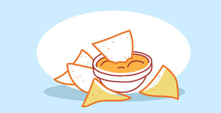 tasty potato corn tortilla chips with sauce in bowl fast food classic american fastfood hand drawn sketch doodle horizontal vector illustration Illustration