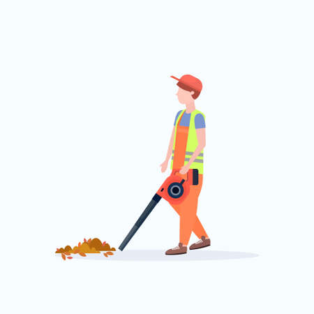 male street cleaner holding leaves blower man in uniform cleaning service concept full length flat white background vector illustration Illustration