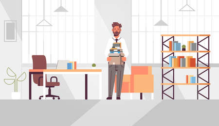 businessman office worker holding box with stuff things new job business concept creative workplace modern office interior flat full length horizontal vector illustration Ilustrace