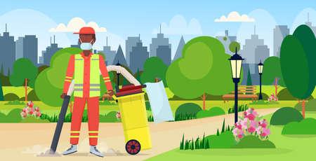 männlicher Straßenhausmeister, der professionellen Staubsauger hält afroamerikanischer Mann, der Müllreinigungsservice-Konzept staubsaugt, Stadtpark-Stadtbildhintergrund in voller Länge, flache horizontale Vektorillustration Vektorgrafik