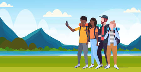group tourists hikers with backpacks taking selfie photo on smartphone camera hiking concept mix race travelers on hike river mountains landscape background flat full length horizontal vector illustration