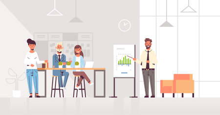 businessman presenting financial graph on flip chart to businesspeople team at conference meeting training presentation concept modern co-working space office interior full length horizontal vector illustration Illusztráció
