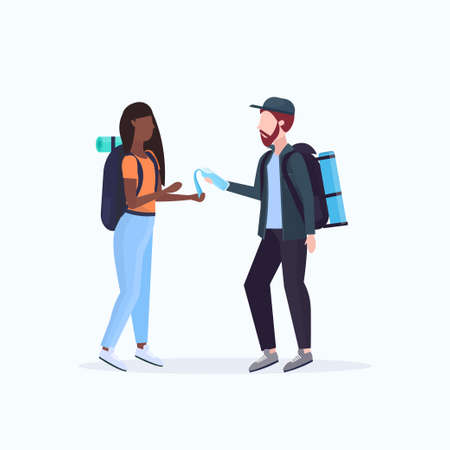 couple hikers with backpacks man pouring water from bottle on woman's hands hiking concept mix race travelers on hike full length white background flat vector illustration