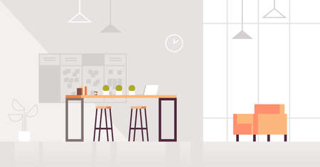 creative lounge area modern office interior contemporary co-working center flat horizontal vector illustration