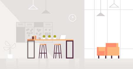 Sala de estar creativa interior de la oficina moderna centro de coworking contemporáneo plano horizontal ilustración vectorial Ilustración de vector