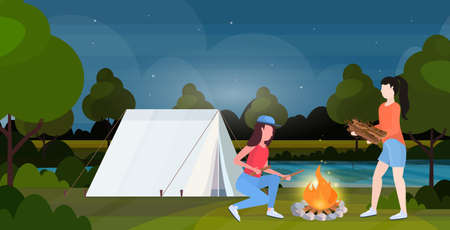 couple hikers making fire girls holding firewood for bonfire hiking concept female travelers on hike tent camping night nature landscape background horizontal full length flat vector illustration