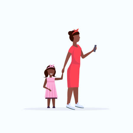 african american woman using cellphone while walking with little child daughter want attention from mother smartphone addiction concept flat full length white background vector illustration