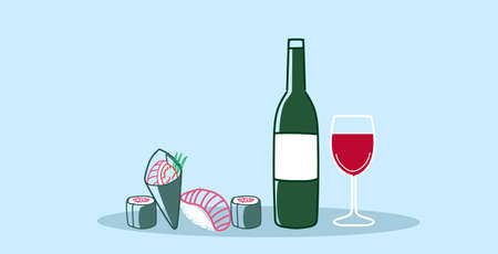 sushi rolls with glass of red wine traditional japanese kitchen romantic dinner concept sketch doodle hand drawn horizontal vector illustration Stock Illustratie