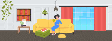 pregnant woman reading book sitting on couch girl touching her belly pregnancy and motherhood concept modern living room interior flat full length horizontal vector illustration