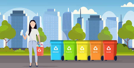 woman holding bucket with plastic rubbish near containers different types of recycling bins segregate waste sorting management concept modern cityscape background flat horizontal full length vector illustration