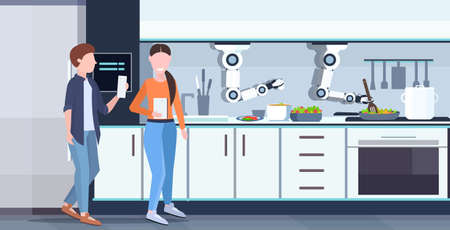 couple using mobile app controlling smart handy chef robot preparing fried eggs and omelet robotic assistant innovation artificial intelligence concept modern kitchen interior flat horizontal vector illustration