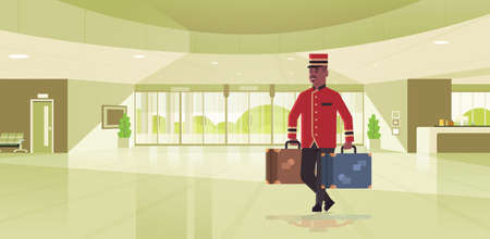bell boy carrying suitcases hotel service concept african american bellman holding luggage male worker in uniform modern reception area lobby interior full length horizontal flat vector illustration