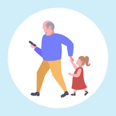 man using cellphone while walking with little child daughter want attention from father smartphone addiction concept flat full length vector illustration Ilustração
