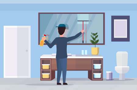 male janitor using shower wiper squeegee and spray plastic bottle man cleaner wiping glass mirror cleaning service concept modern bathroom interior full length flat horizontal vector illustration Vettoriali