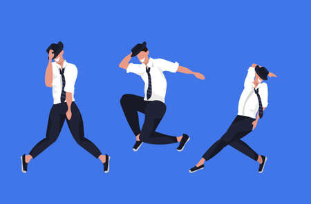 businessmen dancing in different poses male cartoon characters posing together blue background flat full length horizontal vector illustration