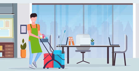 man pushing trolley cart male cleaner janitor in uniform cleaning service concept modern co-working center office interior flat full length horizontal vector illustration
