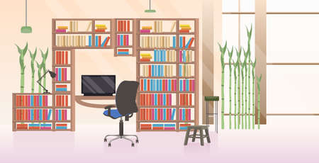 empty no people creative workplace modern office interior flat horizontal vector illustration