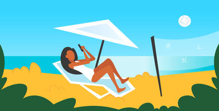 bikini woman sunbathing on sea beach girl in swimsuit using smartphone lying on sun lounger under umbrella summer vacation concept seaside background horizontal full length flat vector illustration