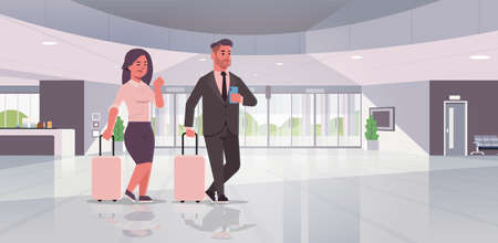 businesspeople with luggage couple standing at reception area business man woman holding suitcase contemporary lobby hotel hall interior flat horizontal full length vector illustration