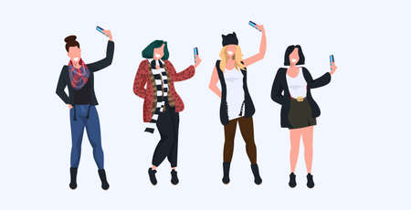 women taking selfie photo on smartphone camera casual female cartoon characters photographing in different poses white background flat full length horizontal vector illustration