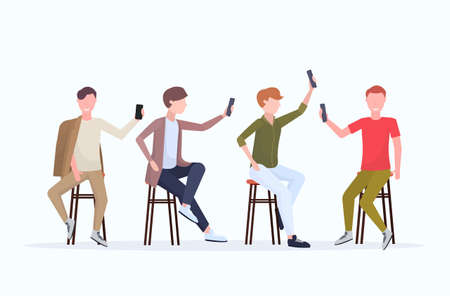 men in different poses taking selfie photo on smartphone camera casual male cartoon characters group sitting on chair posing white background flat full length horizontal vector illustration Illustration