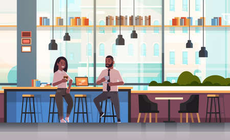 couple sitting on chair at bar counter with laptop coffee break concept african american man woman drinking cappuccino during meeting modern cafe interior flat full length horizontal vector illustration