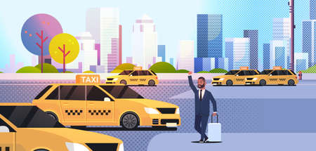 businessman catching taxi on street african amerian business man with luggage stopping yellow cab city transportation service concept cityscape background full length flat horizontal vector illustration