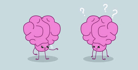 cute human brains couple pink cartoon characters discussing communication concept kawaii style horizontal vector illustration
