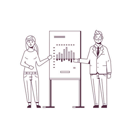 businesspeople coworkers presenting financial graph on flip chart business couple at seminar making presentation concept speakers on conference meting sketch line style full length vector illustration  イラスト・ベクター素材