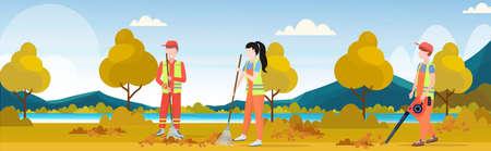 Equipo de limpieza de calles trabajando juntos barriendo el césped rastrillando hojas servicio de limpieza concepto de trabajo en equipo parque de la ciudad paisaje otoñal de fondo ilustración vectorial horizontal plana de longitud completa Ilustración de vector