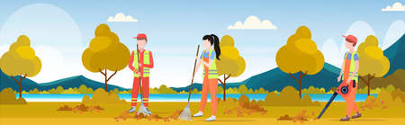 street cleaners team working together sweeping lawn raking leaves cleaning service teamwork concept city park autumn landscape background full length flat horizontal vector illustration Vetores