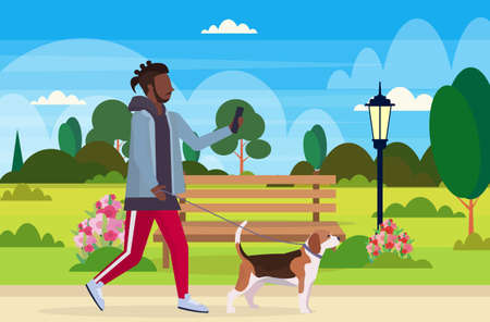african american man walking with dog using smartphone social media network communication digital gadget addiction concept city urban park landscape background flat full length horizontal vector illustration