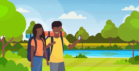 couple tourists hikers using compass searching direction hiking concept man woman african american travelers on hike river landscape background portrait horizontal flat vector illustration