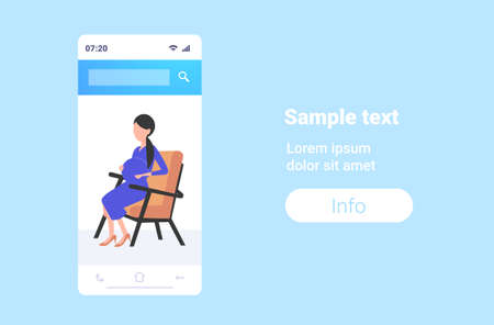 pregnant woman sitting armchair girl touching her belly pregnancy and motherhood concept smartphone screen mobile application flat full length horizontal copy space vector illustration