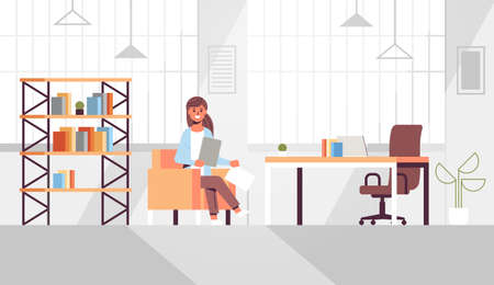 businesswoman sitting at workplace desk business woman holding paper documents preparing report working process concept modern office interior flat horizontal vector illustration