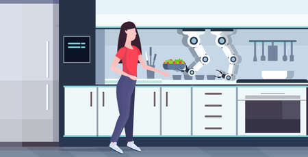 woman preparing food with smart handy chef robot holding fresh salad kitchen assistant concept automation robotic innovation technology artificial intelligence full length flat horizontal vector illustration
