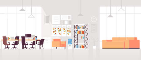 creative workplace modern open space empty nobody office interior contemporary co-working center with lounge area flat horizontal vector illustration Vettoriali