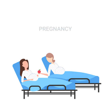 girl with baby bump giving apple to pregnant woman lying in hospital bed pregnancy concept flat full length white background vector illustration