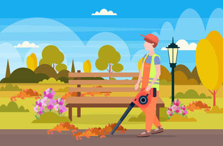 male street cleaner holding leaves blower man in uniform cleaning service concept city urban park landscape background full length flat horizontal vector illustration Stock Illustratie