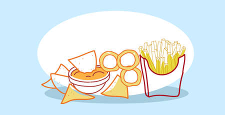 tasty snack tortilla chips with sauce in bowl french fries paper cup fast food classic american fastfood hand drawn sketch doodle horizontal vector illustration