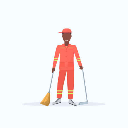 male street cleaner holding broom and dustpan african american man sweeping garbage in scoop cleaning service concept full length flat white background vector illustration