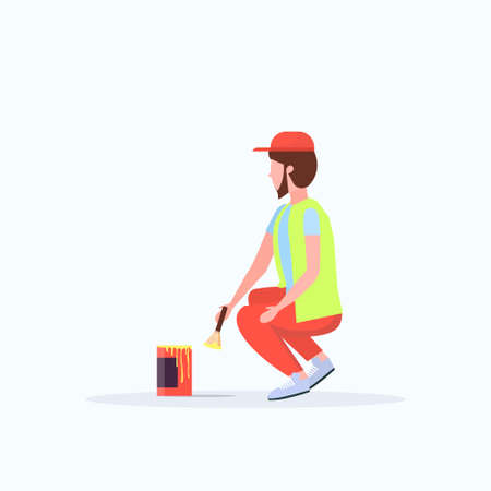 man cleaner in uniform using paintbrush and paint bucket male janitor painting street sidewalk decoration road service concept flat full length white background vector illustration